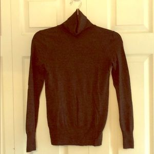 Dark charcoal fine knit wool turtleneck